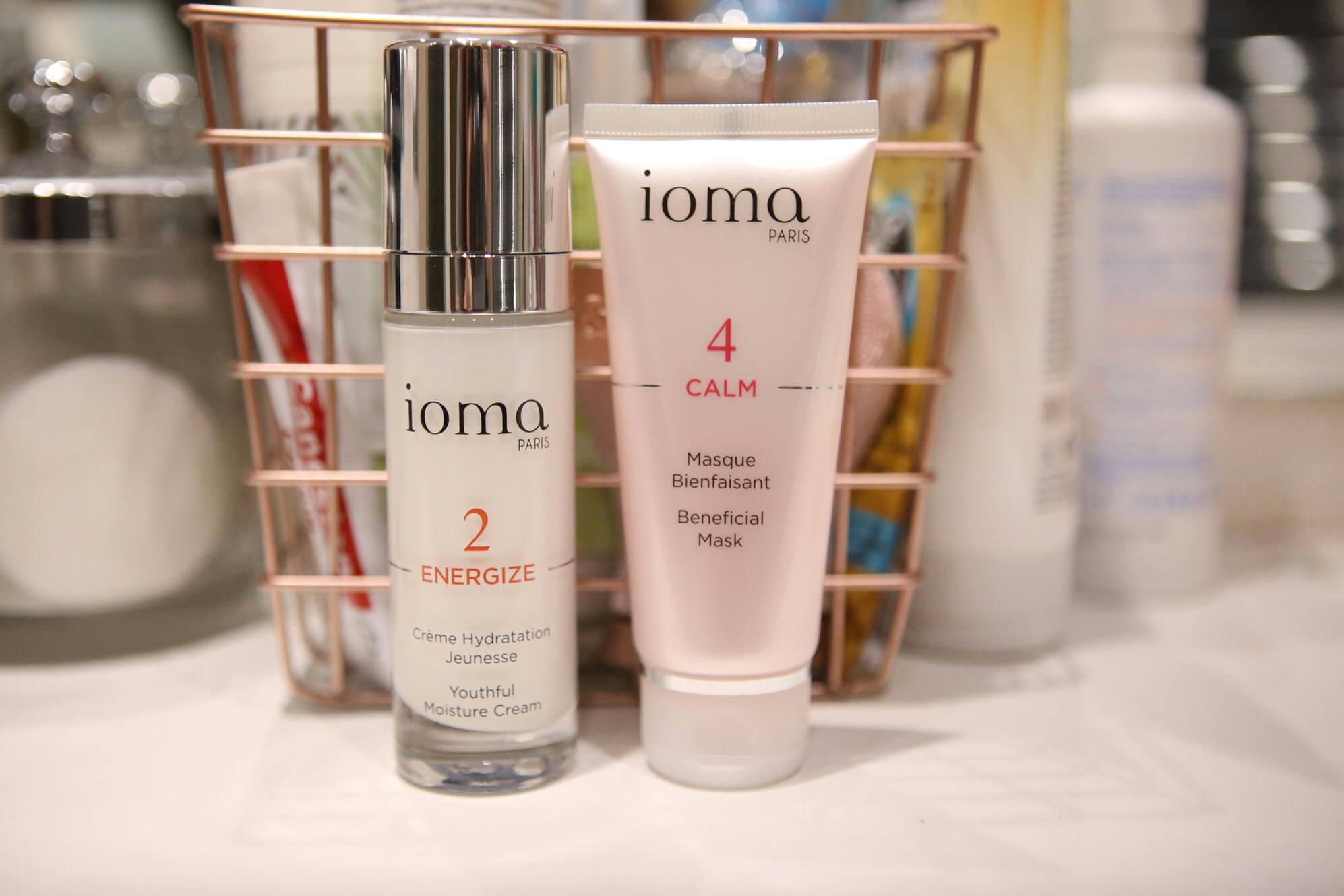 Ioma Skincare including a calming masque and a youthful moisture cream