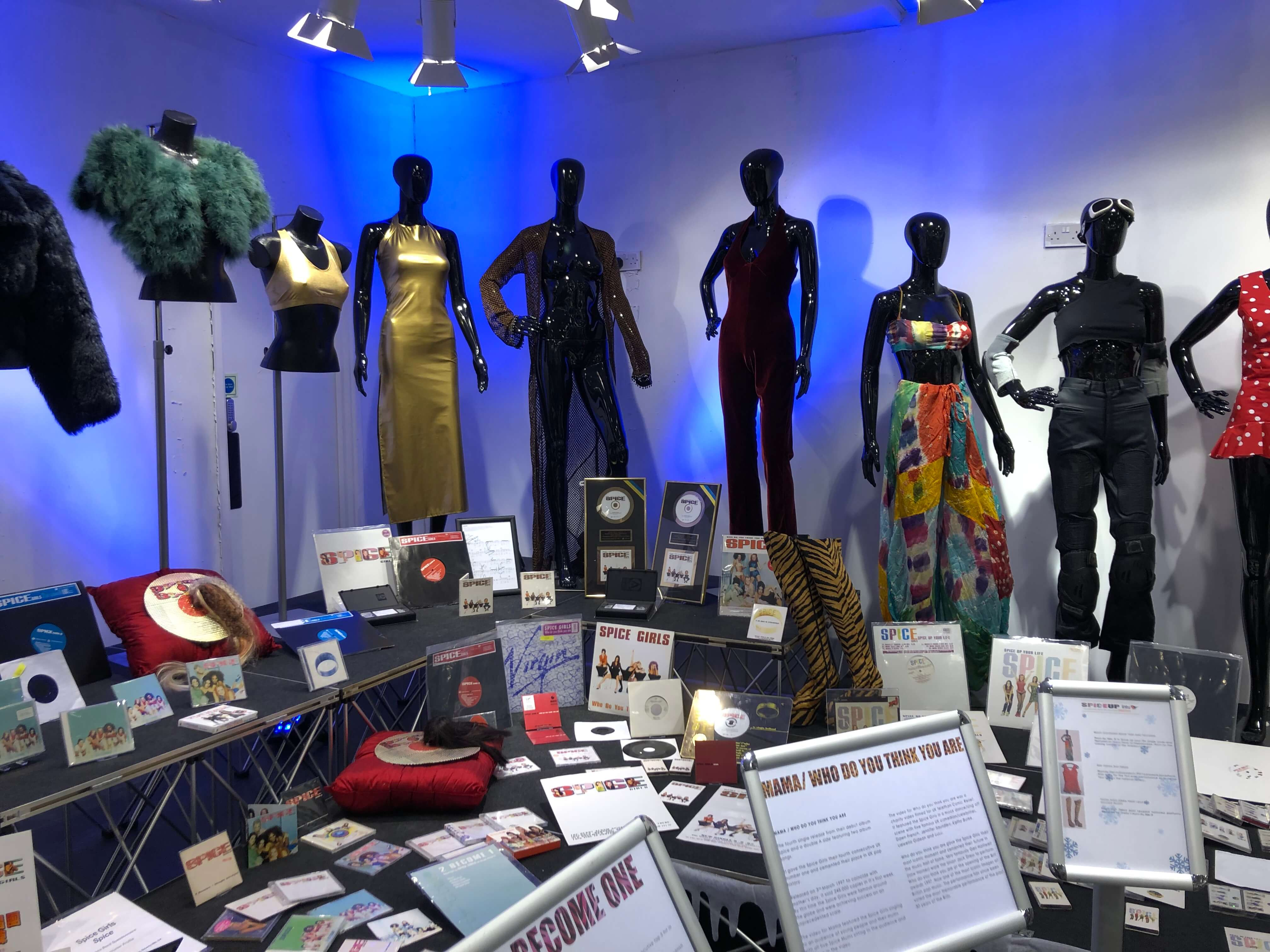 Outfits from the spice girls exhibition