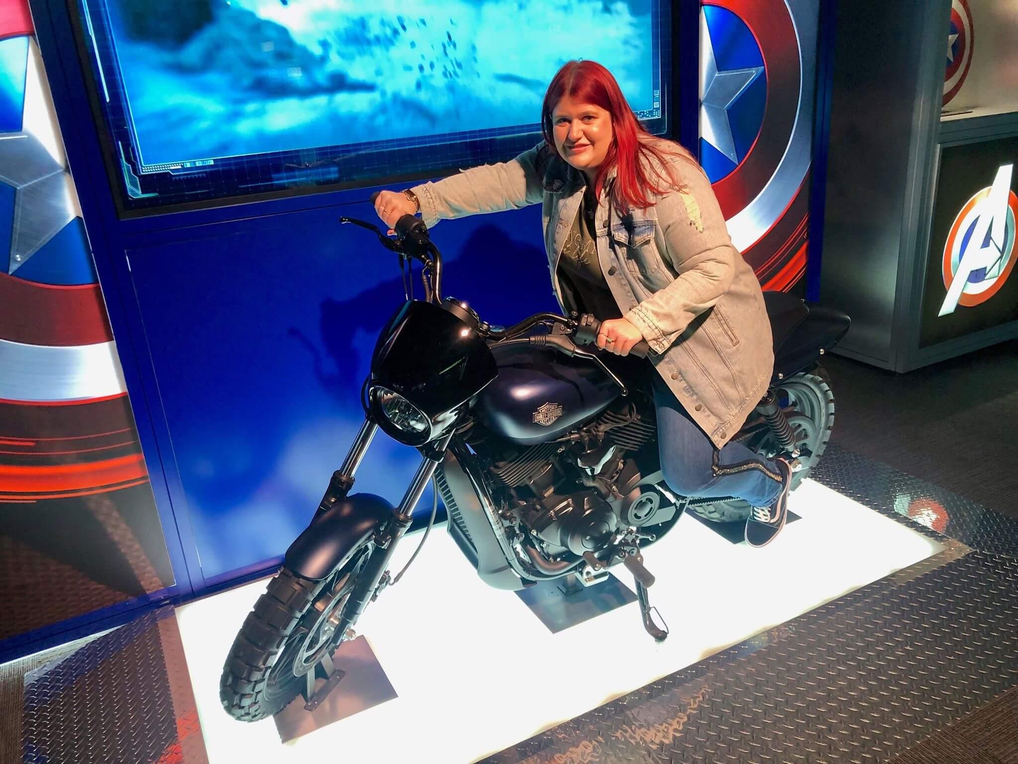 Me on a harley bike at avengers station